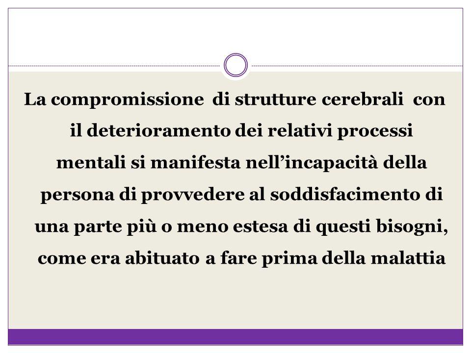 La compromissione di strutture cerebrali con il deterioramento dei relativi processi mentali si manifesta nell'incapacità della persona di provvedere
