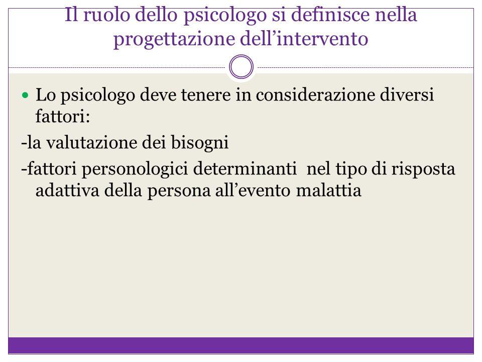 Il ruolo dello psicologo si definisce nella progettazione dell'intervento Lo psicologo deve tenere in considerazione diversi fattori: -la valutazione