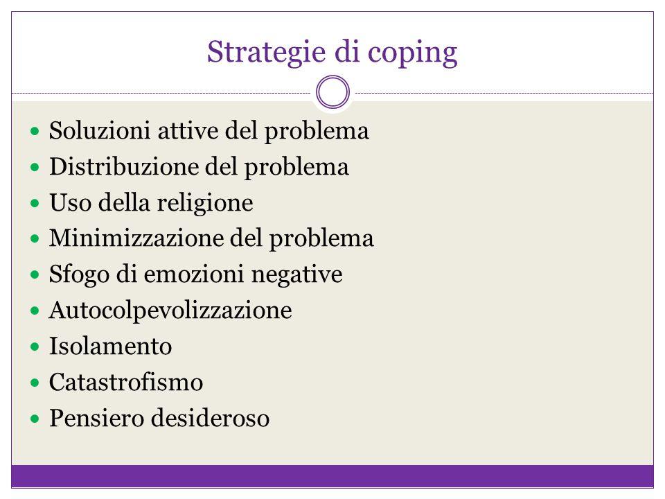 Strategie di coping Soluzioni attive del problema Distribuzione del problema Uso della religione Minimizzazione del problema Sfogo di emozioni negativ