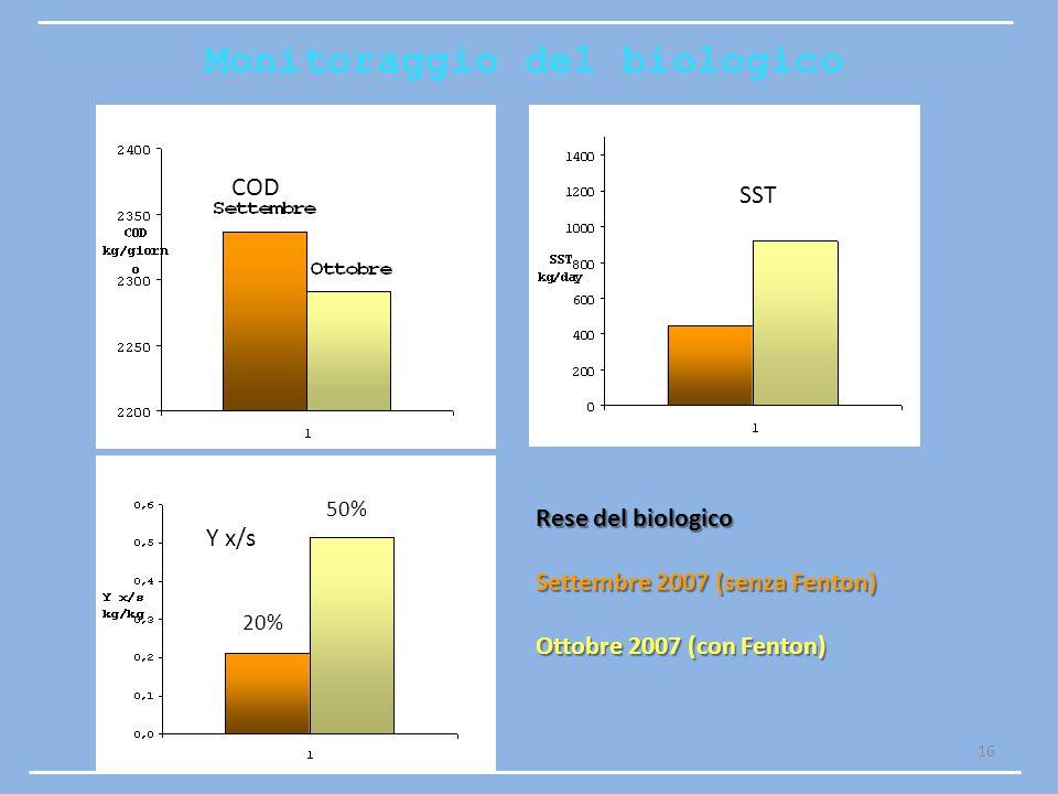 16 Rese del biologico Settembre 2007 (senza Fenton) Ottobre 2007 (con Fenton) Monitoraggio del biologico SST COD Y x/s 20% 50%