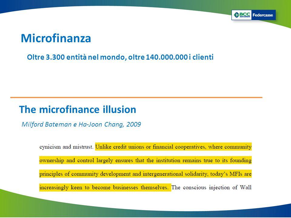 The microfinance illusion Milford Bateman e Ha-Joon Chang, 2009 Oltre 3.300 entità nel mondo, oltre 140.000.000 i clienti Microfinanza