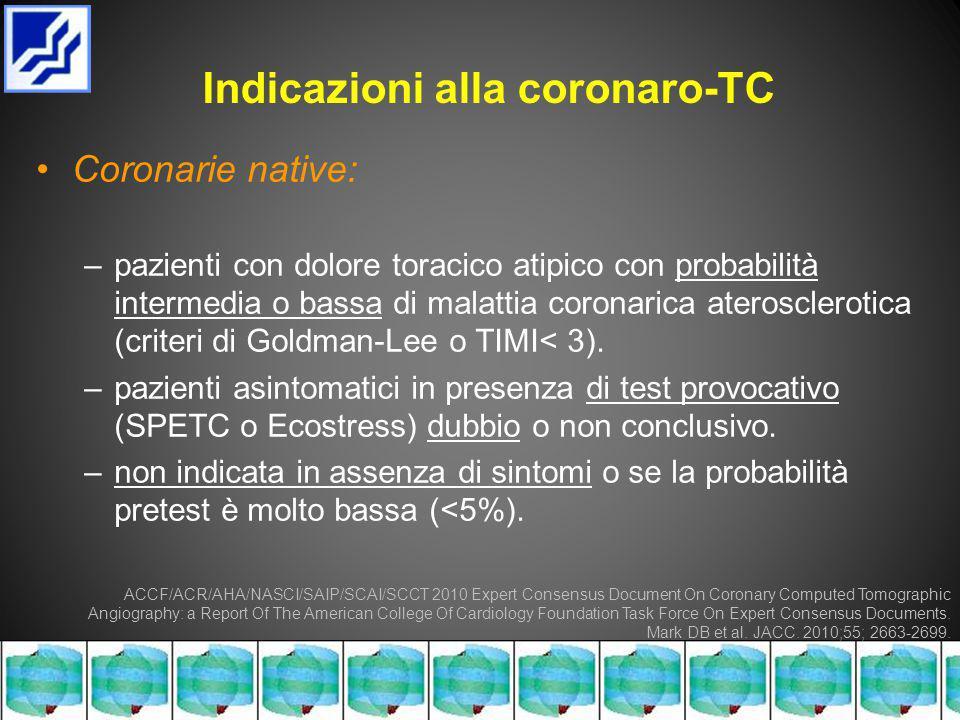 Indicazioni alla coronaro-TC Coronarie native: –pazienti con dolore toracico atipico con probabilità intermedia o bassa di malattia coronarica aterosclerotica (criteri di Goldman-Lee o TIMI< 3).