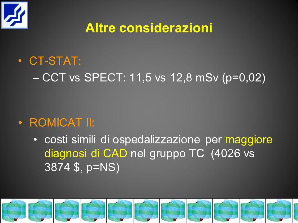 Altre considerazioni CT-STAT: –CCT vs SPECT: 11,5 vs 12,8 mSv (p=0,02) ROMICAT II: costi simili di ospedalizzazione per maggiore diagnosi di CAD nel gruppo TC (4026 vs 3874 $, p=NS)