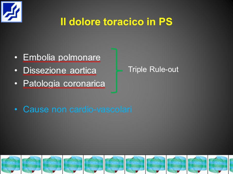 Il dolore toracico in PS Embolia polmonare Dissezione aortica Patologia coronarica Cause non cardio-vascolari Triple Rule-out