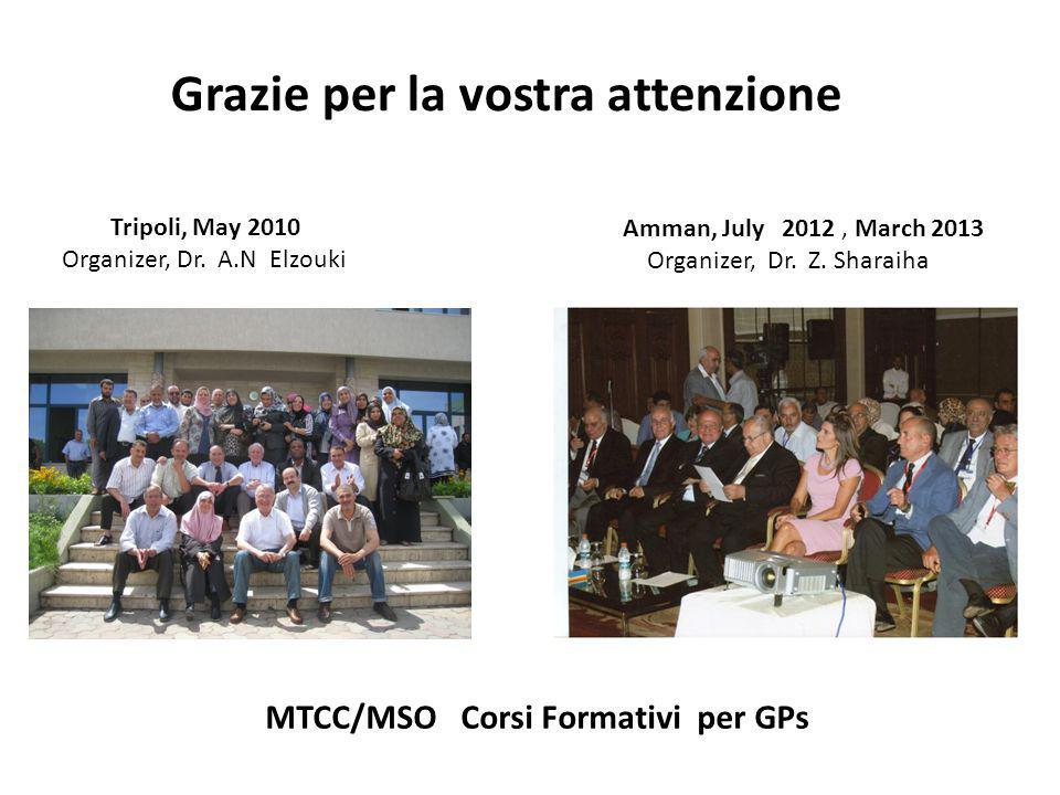 Grazie per la vostra attenzione MTCC/MSO Corsi Formativi per GPs Amman, July 2012, March 2013 Organizer, Dr. Z. Sharaiha Tripoli, May 2010 Organizer,