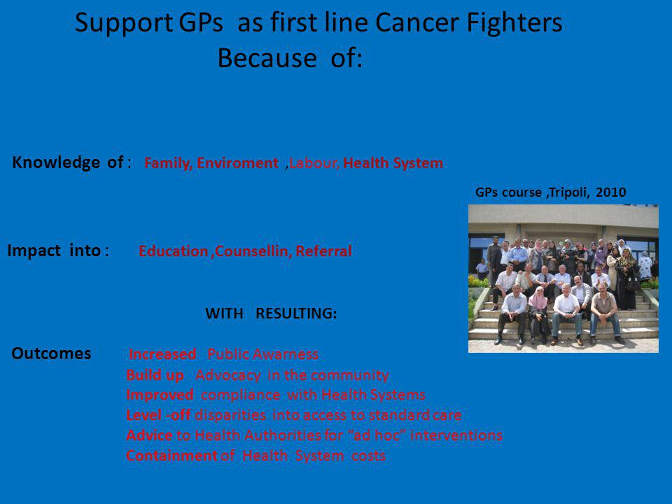 Support GPs as first line Cancer Fighters Because of: Knowledge of : Family, Enviroment,Labour, Health System Impact into : Education,Counsellin, Referral Outcomes Increased Public Awarness Build up Advocacy in the community Improved compliance with Health Systems Level -off disparities into access to standard care Advice to Health Authorities for ad hoc interventions Containment of Health System costs GPs course,Tripoli, 2010 WITH RESULTING: