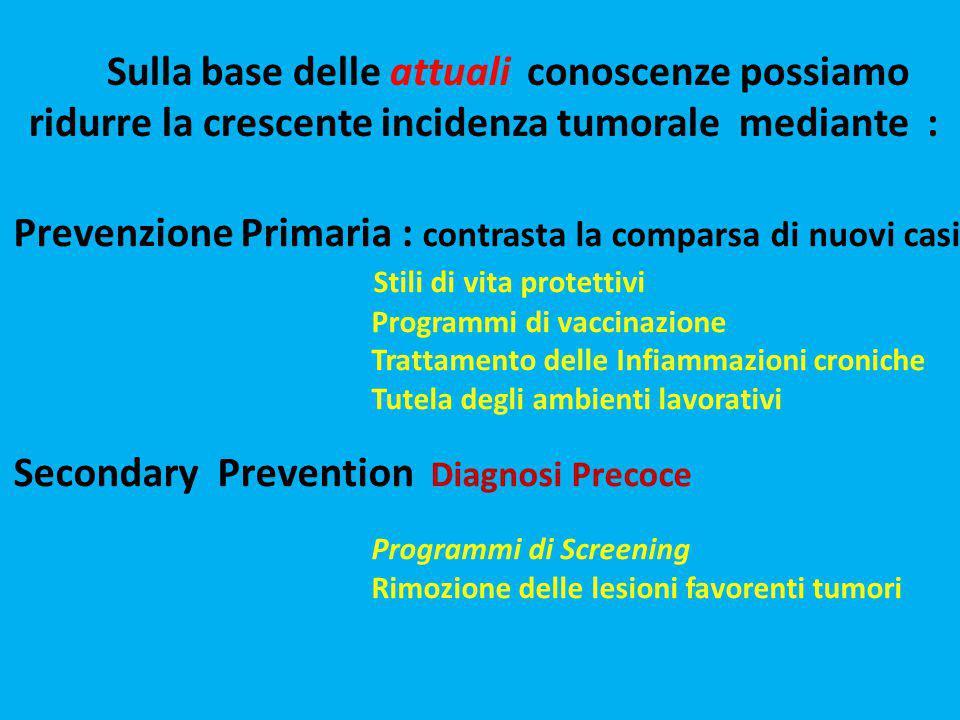 Sulla base delle attuali conoscenze possiamo ridurre la crescente incidenza tumorale mediante : Prevenzione Primaria : contrasta la comparsa di nuovi
