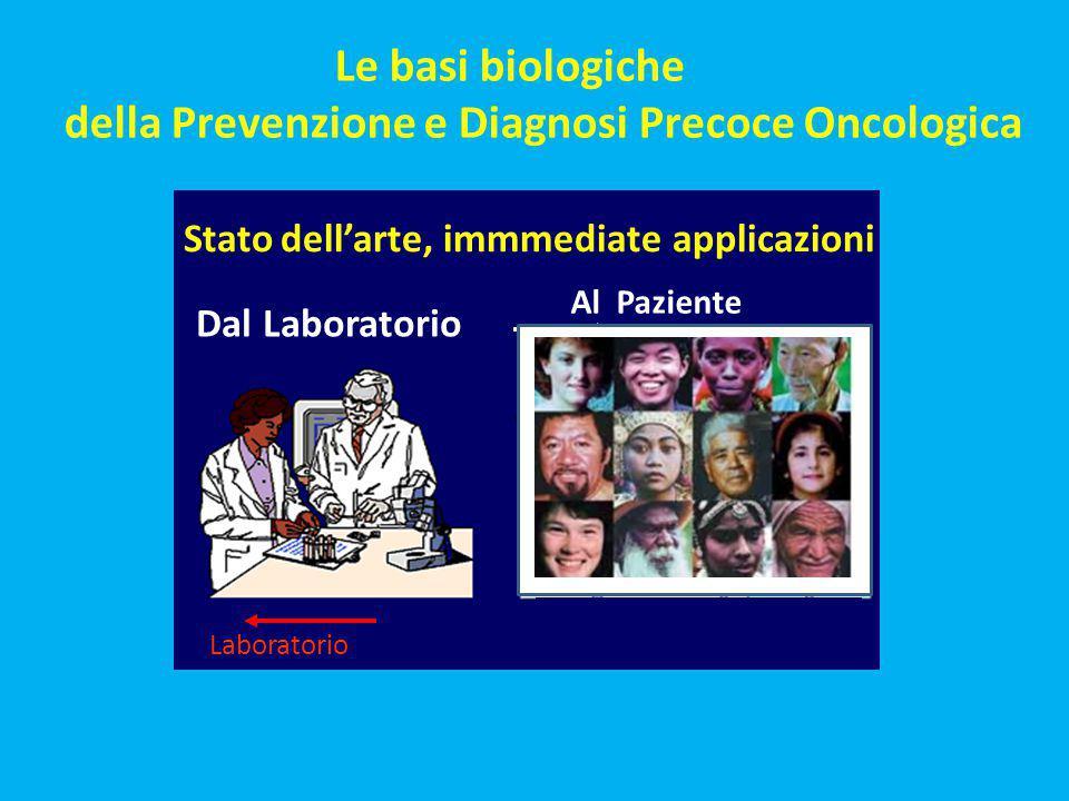 Dal Laboratorio Laboratorio Le basi biologiche della Prevenzione e Diagnosi Precoce Oncologica Al Paziente Stato dell'arte, immmediate applicazioni