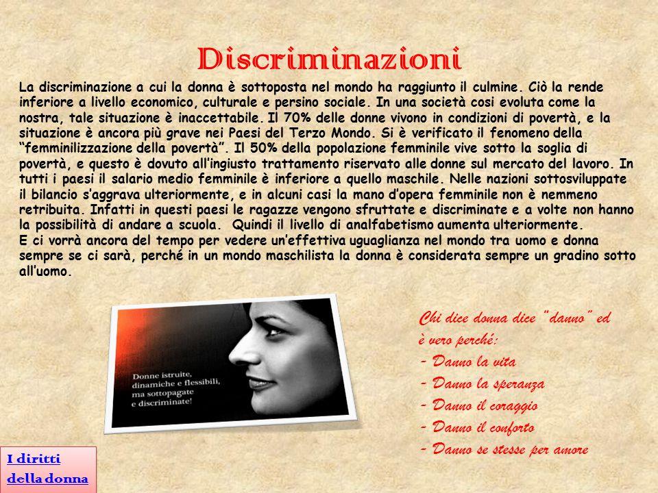 Discriminazioni La discriminazione a cui la donna è sottoposta nel mondo ha raggiunto il culmine. Ciò la rende inferiore a livello economico, cultural