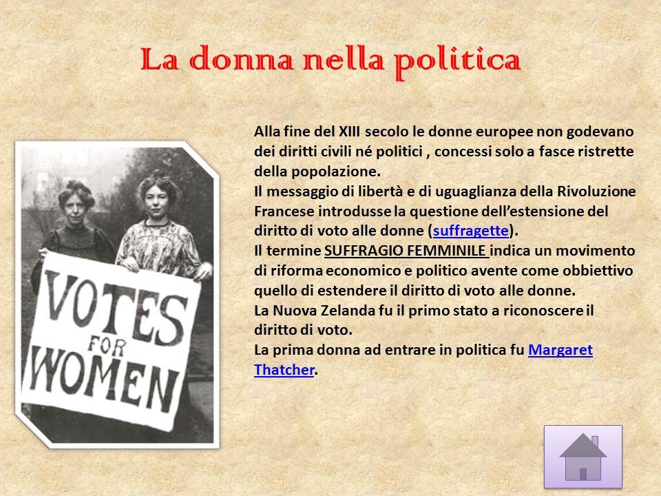 La donna nella politica Alla fine del XIII secolo le donne europee non godevano dei diritti civili né politici, concessi solo a fasce ristrette della