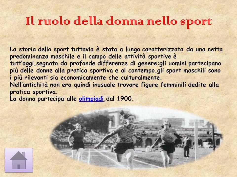 Il ruolo della donna nello sport La storia dello sport tuttavia è stata a lungo caratterizzata da una netta predominanza maschile e il campo delle att