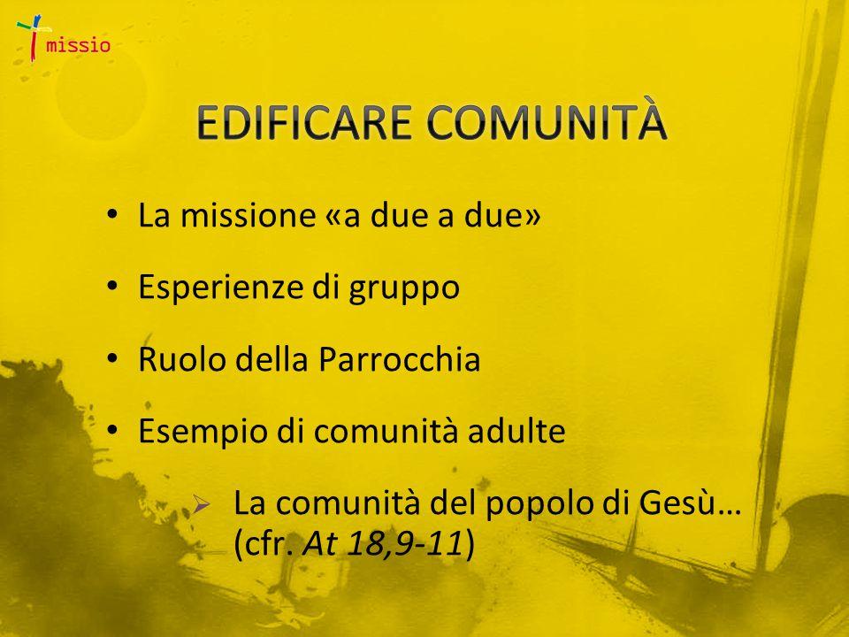 La missione «a due a due» Esperienze di gruppo Ruolo della Parrocchia Esempio di comunità adulte  La comunità del popolo di Gesù… (cfr.