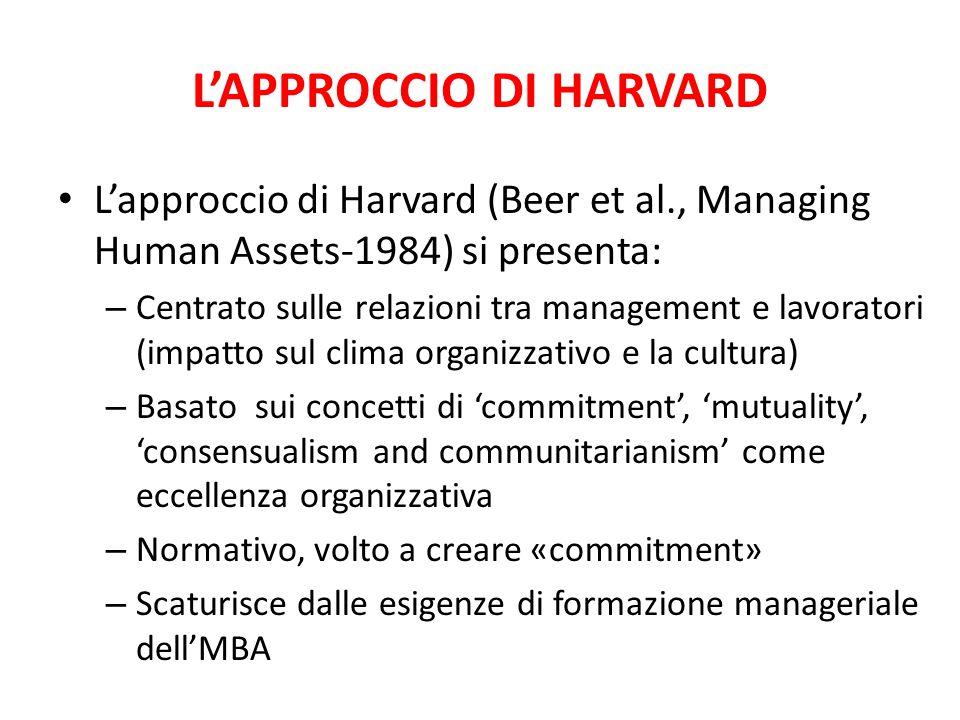 L'APPROCCIO DI HARVARD L'approccio di Harvard (Beer et al., Managing Human Assets-1984) si presenta: – Centrato sulle relazioni tra management e lavor