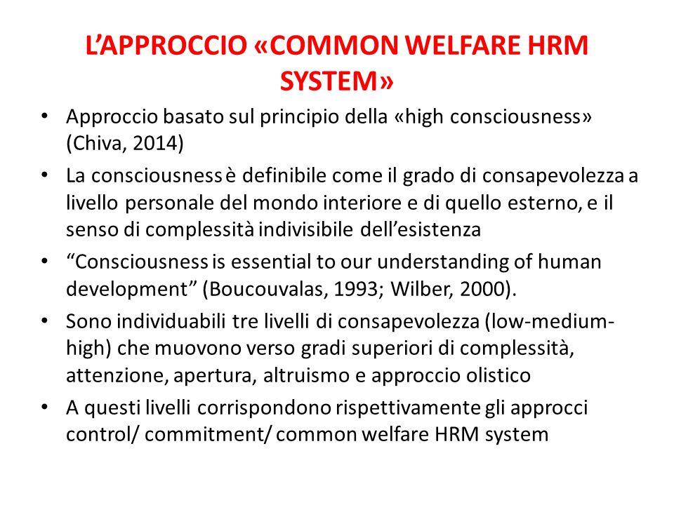 L'APPROCCIO «COMMON WELFARE HRM SYSTEM» Approccio basato sul principio della «high consciousness» (Chiva, 2014) La consciousness è definibile come il