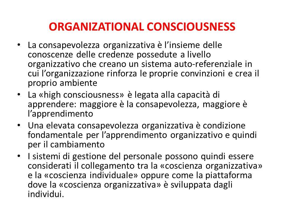 ORGANIZATIONAL CONSCIOUSNESS La consapevolezza organizzativa è l'insieme delle conoscenze delle credenze possedute a livello organizzativo che creano
