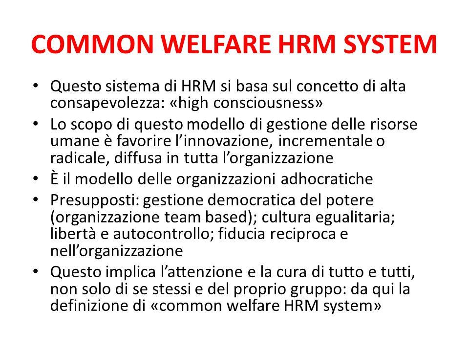 COMMON WELFARE HRM SYSTEM Questo sistema di HRM si basa sul concetto di alta consapevolezza: «high consciousness» Lo scopo di questo modello di gestio