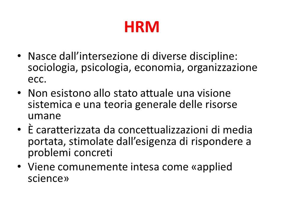 HRM Nasce dall'intersezione di diverse discipline: sociologia, psicologia, economia, organizzazione ecc. Non esistono allo stato attuale una visione s