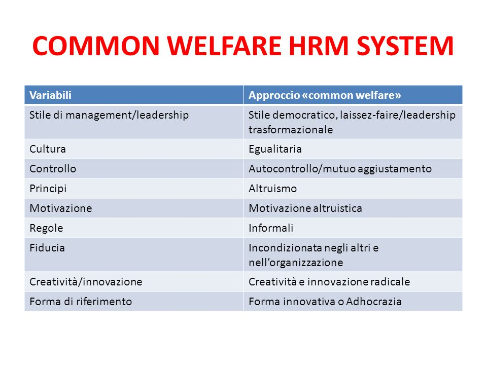 COMMON WELFARE HRM SYSTEM VariabiliApproccio «common welfare» Stile di management/leadershipStile democratico, laissez-faire/leadership trasformaziona