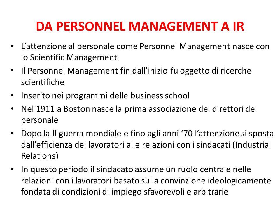 DA PERSONNEL MANAGEMENT A IR L'attenzione al personale come Personnel Management nasce con lo Scientific Management Il Personnel Management fin dall'i