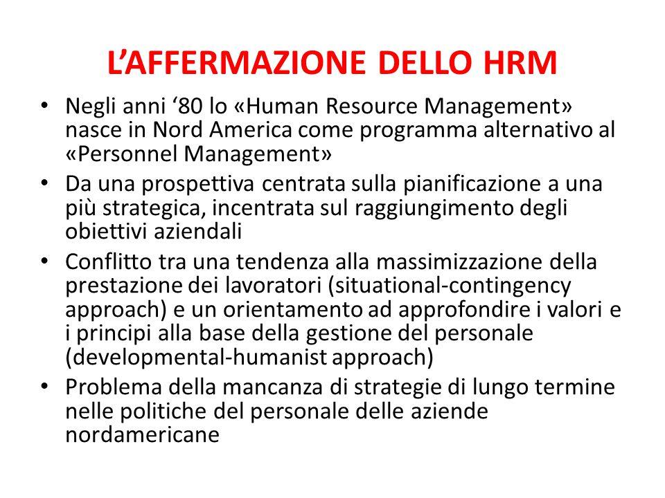 L'AFFERMAZIONE DELLO HRM Negli anni '80 lo «Human Resource Management» nasce in Nord America come programma alternativo al «Personnel Management» Da u