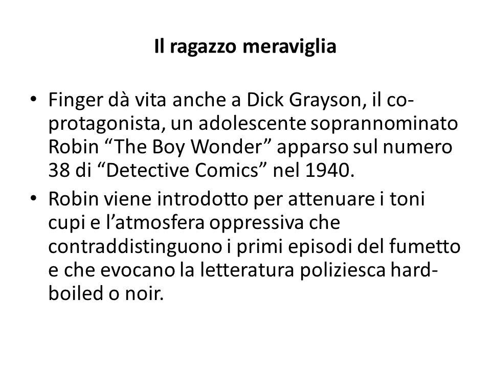 Il ragazzo meraviglia Finger dà vita anche a Dick Grayson, il co- protagonista, un adolescente soprannominato Robin The Boy Wonder apparso sul numero 38 di Detective Comics nel 1940.