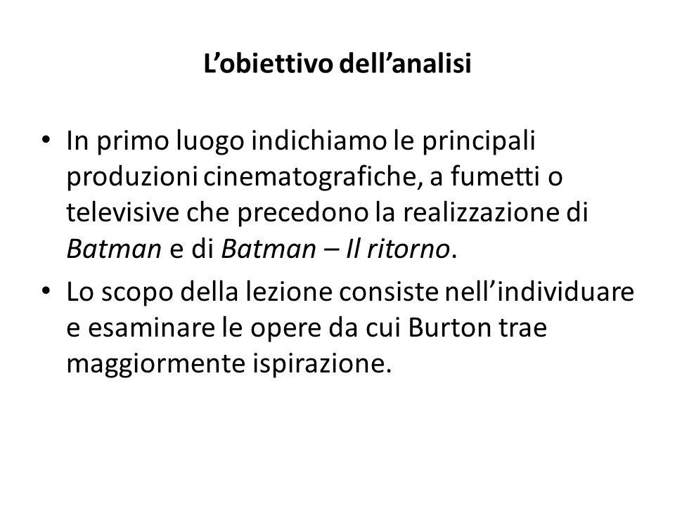 L'obiettivo dell'analisi In primo luogo indichiamo le principali produzioni cinematografiche, a fumetti o televisive che precedono la realizzazione di Batman e di Batman – Il ritorno.
