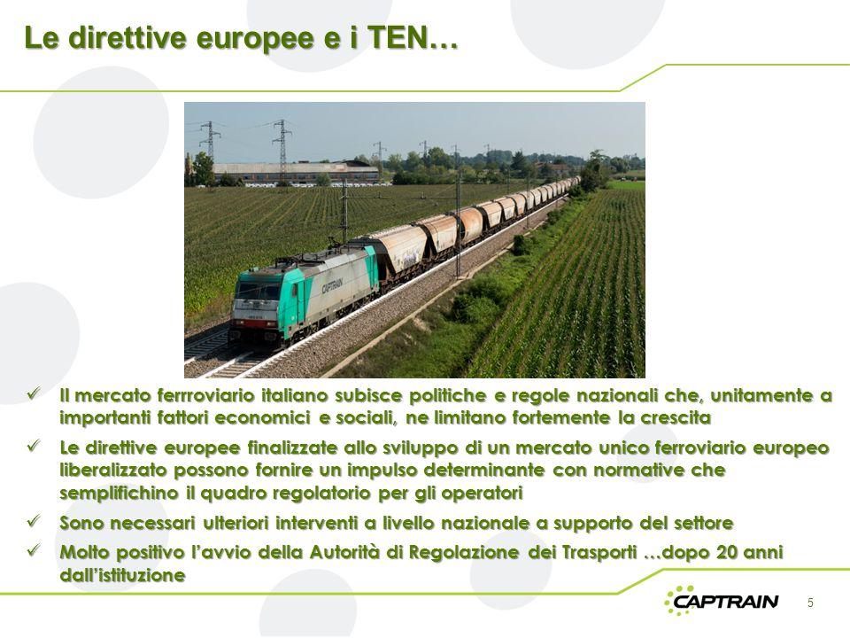 Le direttive europee e i TEN… 5 Il mercato ferrroviario italiano subisce politiche e regole nazionali che, unitamente a importanti fattori economici e