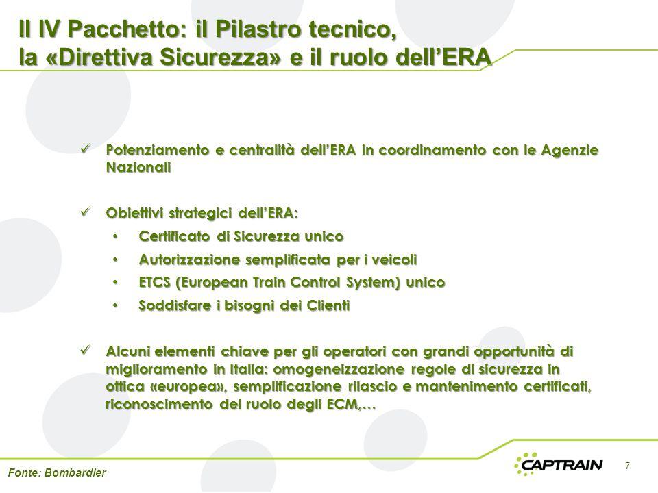 Il IV Pacchetto: il Pilastro tecnico, la «Direttiva Sicurezza» e il ruolo dell'ERA 7 Fonte: Bombardier Potenziamento e centralità dell'ERA in coordina