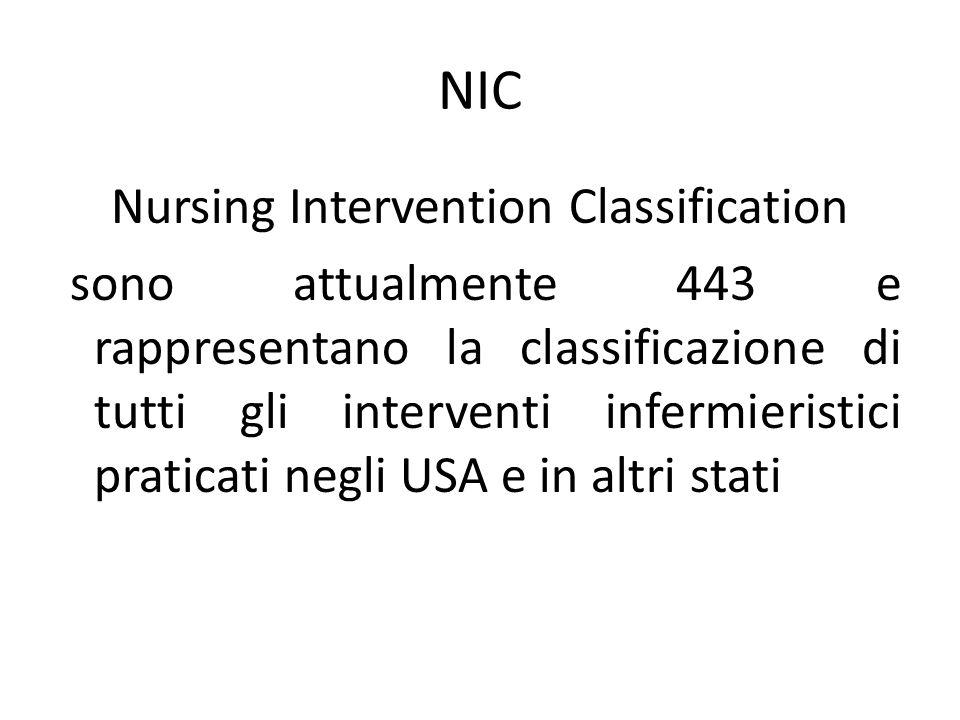 NIC Nursing Intervention Classification sono attualmente 443 e rappresentano la classificazione di tutti gli interventi infermieristici praticati negl