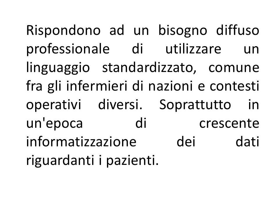 Rispondono ad un bisogno diffuso professionale di utilizzare un linguaggio standardizzato, comune fra gli infermieri di nazioni e contesti operativi d