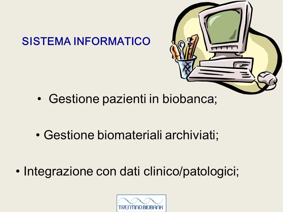 Gestione pazienti in biobanca; Gestione biomateriali archiviati; Integrazione con dati clinico/patologici; SISTEMA INFORMATICO