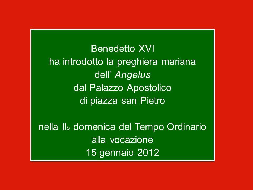Benedetto XVI ha introdotto la preghiera mariana dell' Angelus dal Palazzo Apostolico di piazza san Pietro nella II b domenica del Tempo Ordinario alla vocazione 15 gennaio 2012 Benedetto XVI ha introdotto la preghiera mariana dell' Angelus dal Palazzo Apostolico di piazza san Pietro nella II b domenica del Tempo Ordinario alla vocazione 15 gennaio 2012