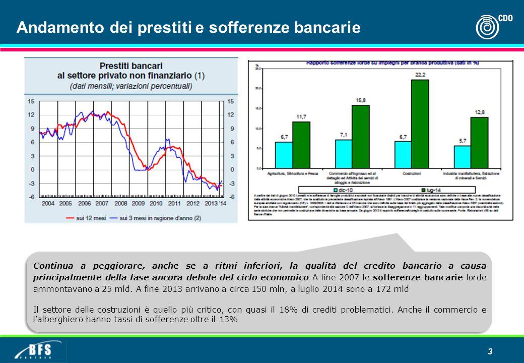 Andamento dei prestiti e sofferenze bancarie 3 Continua a peggiorare, anche se a ritmi inferiori, la qualità del credito bancario a causa principalmen