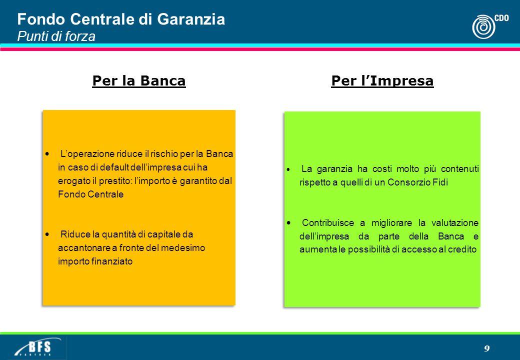 9 Fondo Centrale di Garanzia Punti di forza L'operazione riduce il rischio per la Banca in caso di default dell'impresa cui ha erogato il prestito: l'
