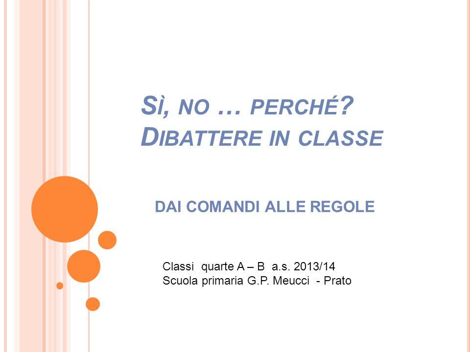 S Ì, NO … PERCHÉ ? D IBATTERE IN CLASSE DAI COMANDI ALLE REGOLE Classi quarte A – B a.s. 2013/14 Scuola primaria G.P. Meucci - Prato