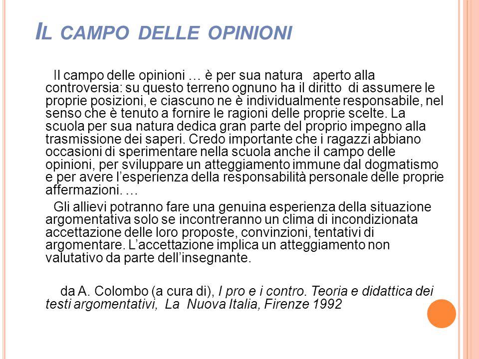 I L CAMPO DELLE OPINIONI Il campo delle opinioni … è per sua natura aperto alla controversia: su questo terreno ognuno ha il diritto di assumere le pr