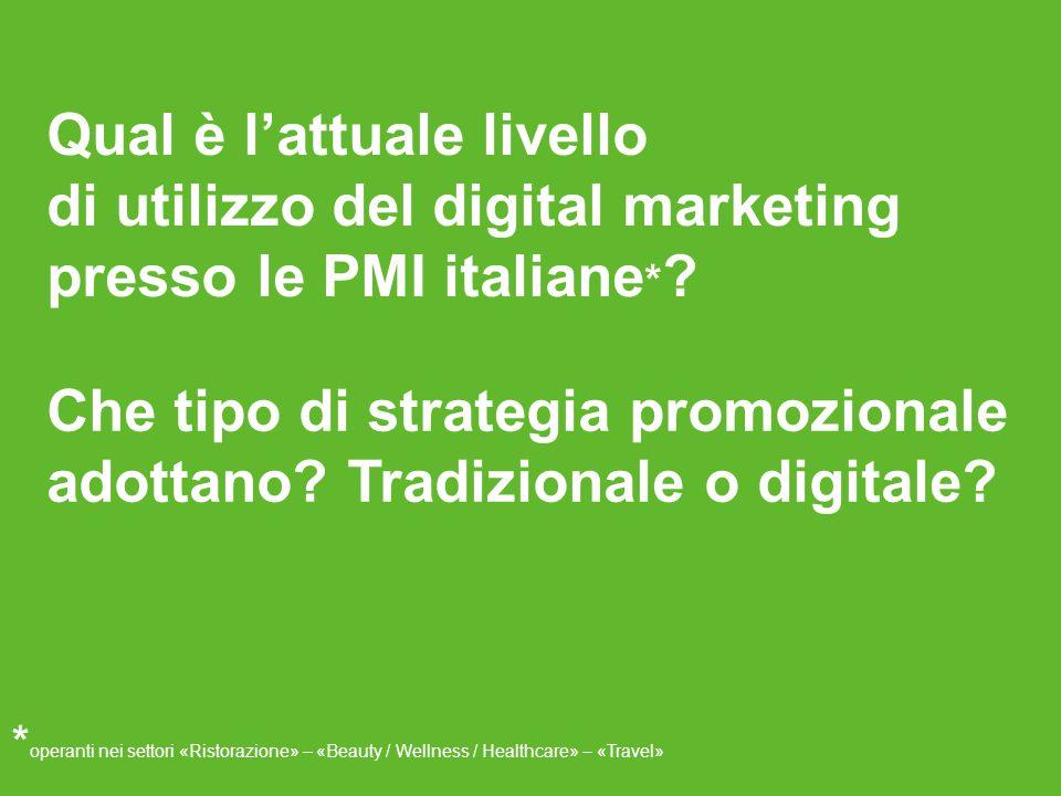 Qual è l'attuale livello di utilizzo del digital marketing presso le PMI italiane * .