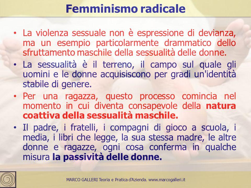 La violenza sessuale non è espressione di devianza, ma un esempio particolarmente drammatico dello sfruttamento maschile della sessualità delle donne.