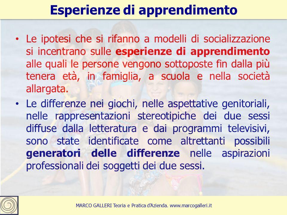 Le ipotesi che si rifanno a modelli di socializzazione si incentrano sulle esperienze di apprendimento alle quali le persone vengono sottoposte fin dalla più tenera età, in famiglia, a scuola e nella società allargata.