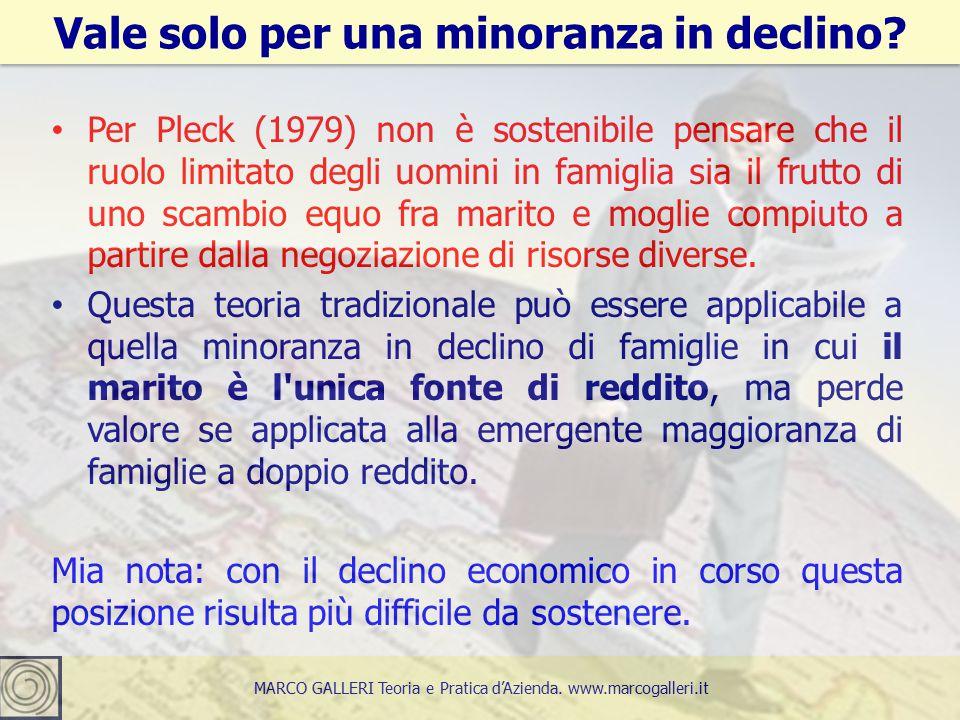 Per Pleck (1979) non è sostenibile pensare che il ruolo limitato degli uomini in famiglia sia il frutto di uno scambio equo fra marito e moglie compiuto a partire dalla negoziazione di risorse diverse.