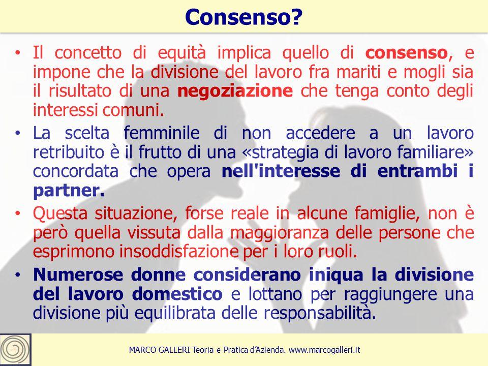 Il concetto di equità implica quello di consenso, e impone che la divisione del lavoro fra mariti e mogli sia il risultato di una negoziazione che tenga conto degli interessi comuni.