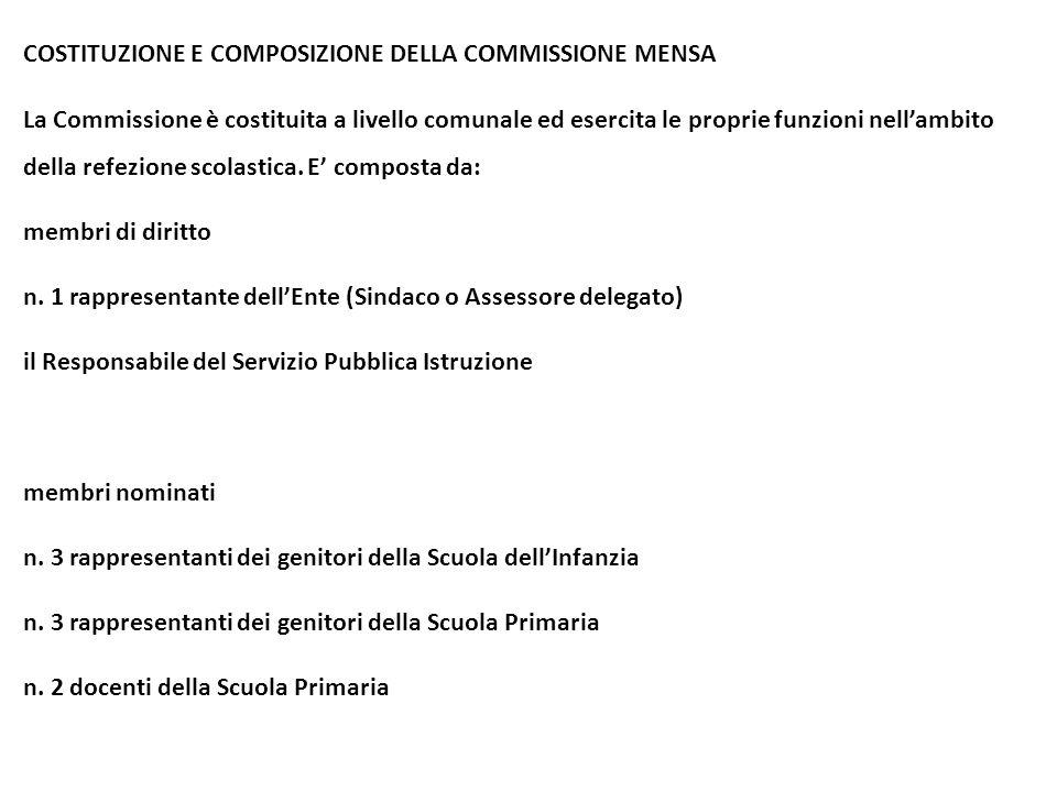 COSTITUZIONE E COMPOSIZIONE DELLA COMMISSIONE MENSA La Commissione è costituita a livello comunale ed esercita le proprie funzioni nell'ambito della r