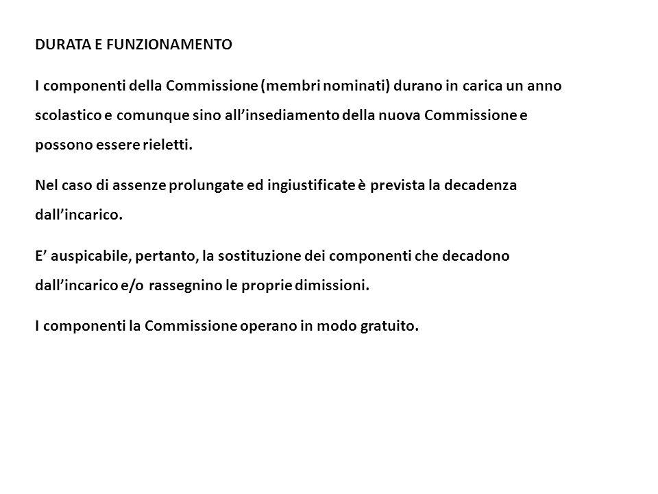 DURATA E FUNZIONAMENTO I componenti della Commissione (membri nominati) durano in carica un anno scolastico e comunque sino all'insediamento della nuo