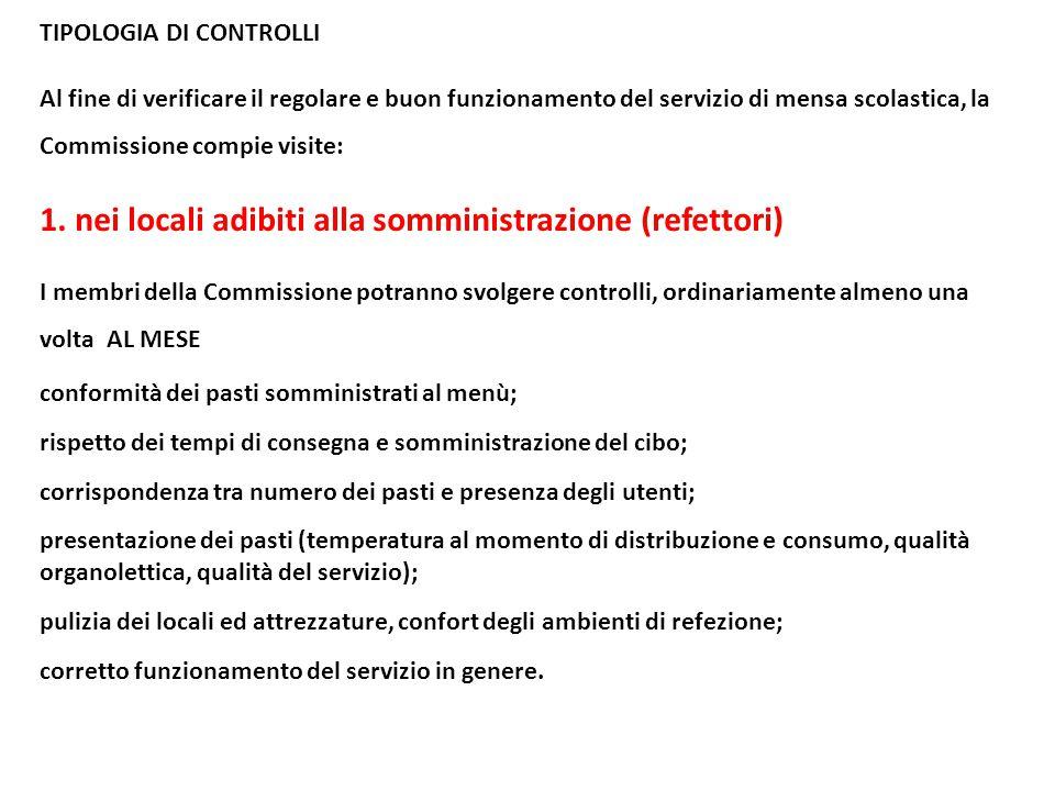 TIPOLOGIA DI CONTROLLI Al fine di verificare il regolare e buon funzionamento del servizio di mensa scolastica, la Commissione compie visite: 1. nei l