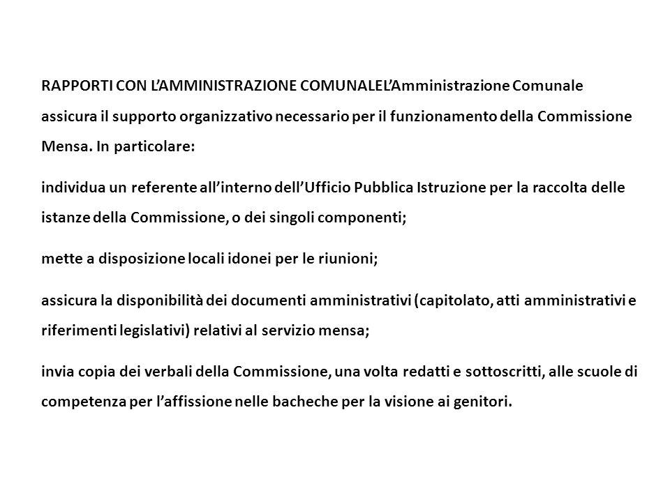 RAPPORTI CON L'AMMINISTRAZIONE COMUNALEL'Amministrazione Comunale assicura il supporto organizzativo necessario per il funzionamento della Commissione