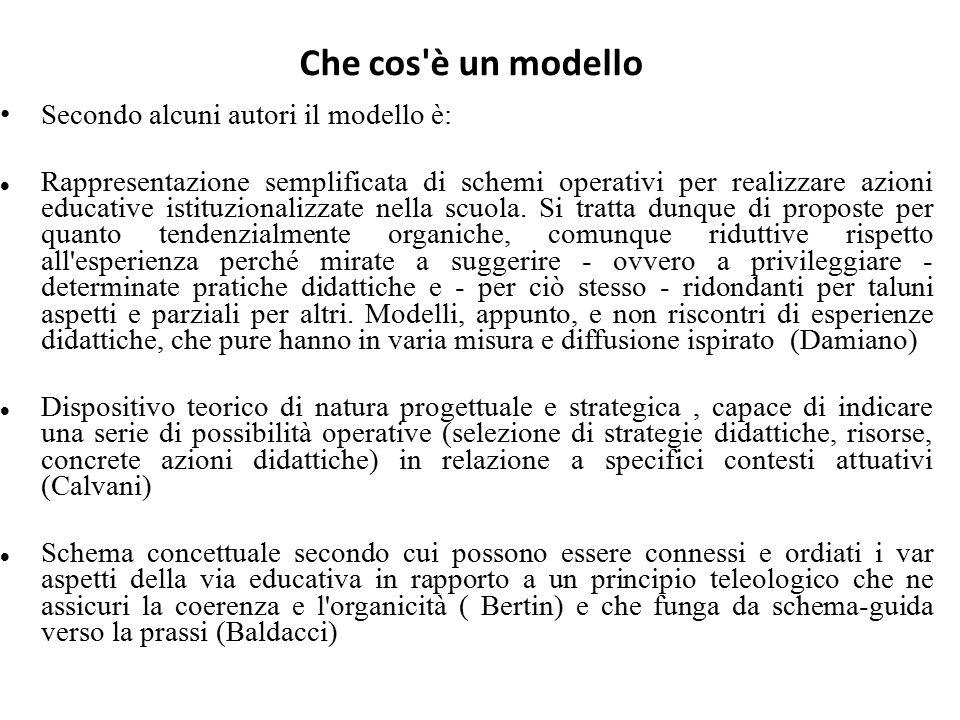 Che cos'è un modello Secondo alcuni autori il modello è: Rappresentazione semplificata di schemi operativi per realizzare azioni educative istituziona