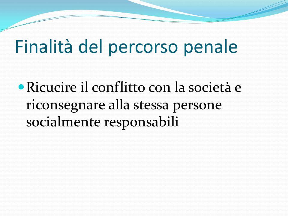 Finalità del percorso penale Ricucire il conflitto con la società e riconsegnare alla stessa persone socialmente responsabili