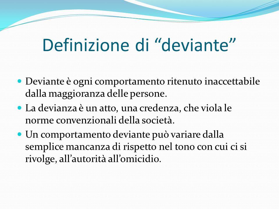 Definizione di deviante Deviante è ogni comportamento ritenuto inaccettabile dalla maggioranza delle persone.
