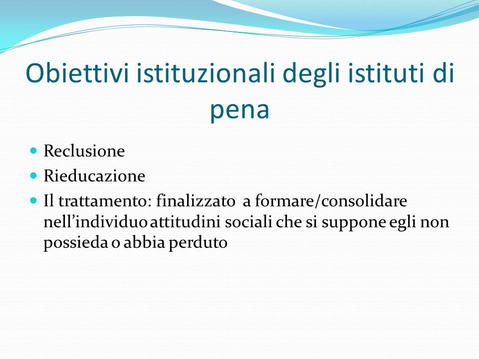 Obiettivi istituzionali degli istituti di pena Reclusione Rieducazione Il trattamento: finalizzato a formare/consolidare nell'individuo attitudini sociali che si suppone egli non possieda o abbia perduto