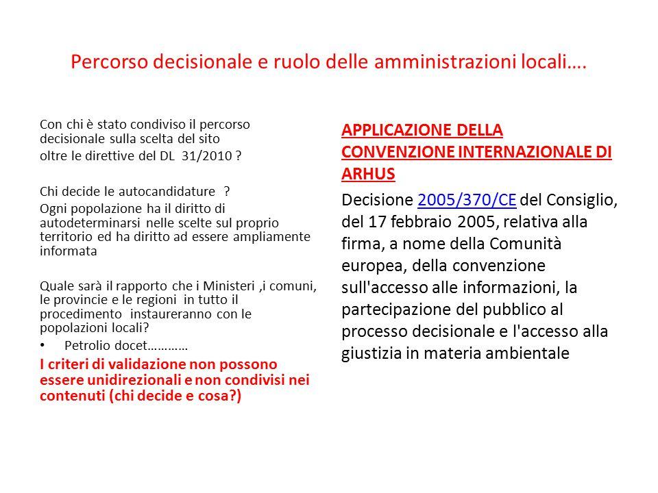 Percorso decisionale e ruolo delle amministrazioni locali….
